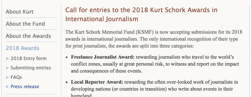 Kurt Schork Awards in International Journalism 2018